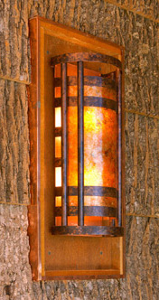 Mottled copper and amber mica wall sconce