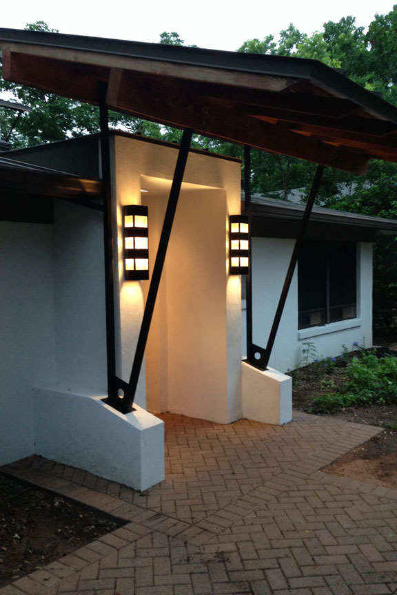 Copper and glass entrance lights